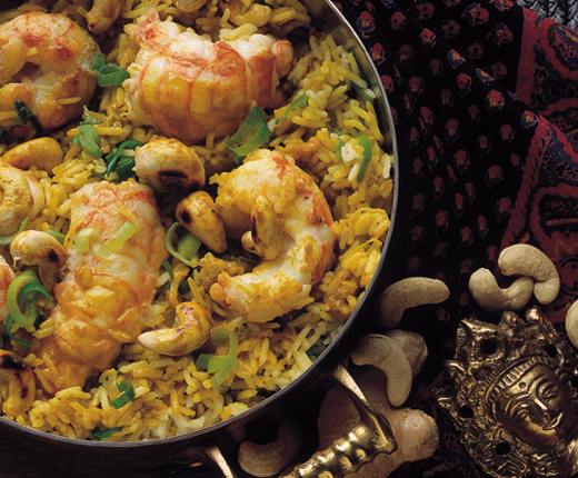 Riso al curry con scampi